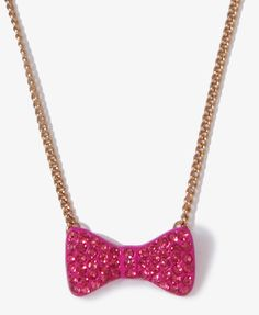 Rhinestoned Bow Charm Necklace