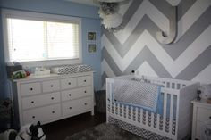 #Chevron Accent Wall in this Gray and White #Nursery