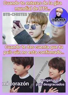 Vengan a argentina! 2017 Memes Bts Español, New Memes, Bts 2018, Bts Jungkook, Cute Memes, Funny Memes, Army Memes, Vkook, Bts Imagine