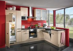 Want to try the red kitchen? How red is the red kitchen? The warmth of the red signal is fresh and delicious food. So, having a red kitchen accent or red kitchen wall isn't all that unusual. Red Kitchen Walls, Red Kitchen Cabinets, European Kitchen Cabinets, Kitchen Cabinets Pictures, European Kitchens, Kitchen Cabinet Styles, Home Kitchens, White Cabinets, Kitchen Cabinet Manufacturers