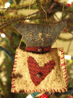 Primitive Early Style Folk Art Black Cat by SweetpeasPrimitives