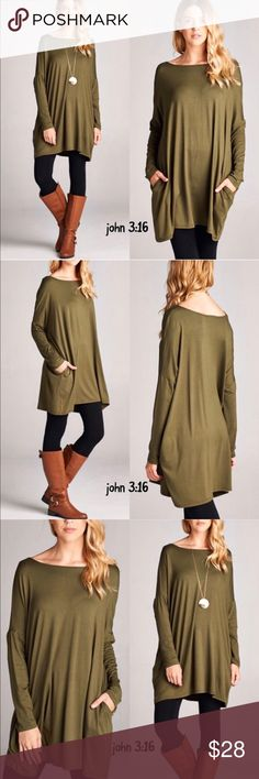 Olive tunic Our favorite basic olive tunic tops with hidden side pockets - rayon/spandex blend. These tops have an oversized fit. Price is firm✔️                    Small bust 52' Medium bust 54' Large bust 58' XL bust 60' Tops Tunics