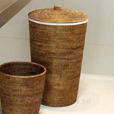 BASKET set med tvättkorg och papperskorg, ljusbrun 2504617