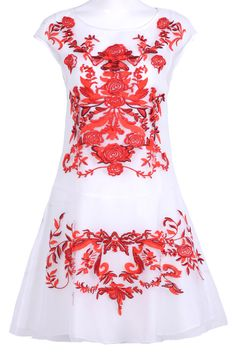 White and Red Flower Embroidery Cap Sleeve Sheath Dress
