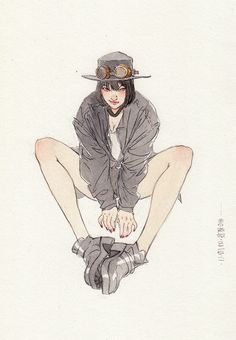 LOFTER(乐乎) - 每个人的理想国 Female/ Sitting pose/ Casual Clothing/ Hat & Goggles