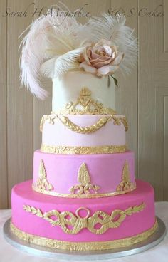 This is one of my all time favorites, the bride and I planned this cake for almost 1yr with many many changes! This was the final design, inspired by Marie Antoinette, some hand cut pieces and some molded pieces, some of the gold details were inspired by Ron Ben Isreal's beautiful work. Custom made topper.