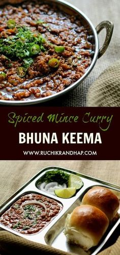 Spiced mince curry is such a rich and delicious accompaniment to pav/pao (dinner rolls), chapathis, roti, naan or pulao. Keema Pao is a popular street food in most parts of India & Pakistan. Keema Recipes, Mince Recipes, Veg Recipes, Curry Recipes, Indian Food Recipes, Cooking Recipes, Minced Beef Recipes, Easy Cooking, Cooking Ideas