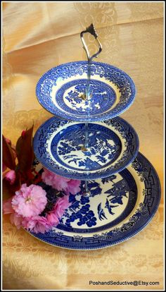 """Churchill """"Blue Willow"""" handmade cake stand using vintage best quality branded English made finest examples of porcelain and bone china 3 tier cake stand Churchill porcelain Blue Willow pattern handmade cake stand tiered cake stand afternoon tea blue and wite colour English bone china made to order item highest qualty goods exquisite gift idea stylish tableware tea time accessories 36.00 GBP #goriani"""