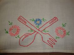 Vintage Flour Sack Towel Embroidered with A Fork Spoon Flowers |