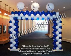 Love the balloon arch!  use baseballs  and star balloons and use colors of red, white and blue