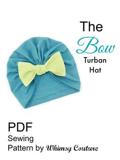 Download this 30 minute sewing project from Whimsy Couture today! Make 1920's inspired turban hats with a big knotted bow. Use knit fabrics or swim suit material. This Bow Turban Hat PDF Sewing Pattern is great!