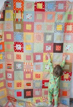 Cluck Cluck Sew: Ben's Quilt Top - I love how simple this pattern is, yet the quilt is so alive with color and texture.