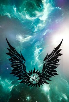 This is a sillouette of Supernaturals anti possession symbol with wings on either side. It is photoshopped on a backround of a blue Galaxy. Supernatural Anti Possession, Supernatural Baby, Supernatural Tattoo, Supernatural Pictures, Supernatural Wallpaper, Winchester Supernatural, Anti Possession Tattoo, Wallpaper Backgrounds, Cute Wallpapers