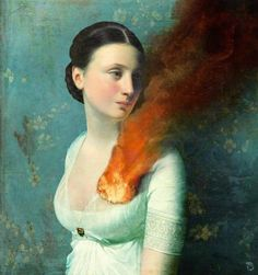 Portrait of a Heart by Christian Schloe  the juxtaposition of her calm expression and burning heart is really ...