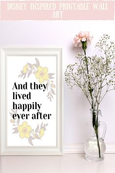 Looking for an disney inspired wall art to go in your home? This happily ever after art print is the perfect addition to your home decor and goes beautiful in a disney inspired wedding. It is an instant download so you can print it straight away, no having to go out to shops, no waiting times, no shipping costs! Awesome!! discover more colourful quotes and styles now #disneywedding #homedecor #disneyprints #instantdownload #disneyquotes Happily Ever After Disney, Feminine Office Decor, Disney Inspired Wedding, Color Quotes, Disney Posters, Colorful Wall Art, Office Wall Art, Inspirational Wall Art, Disney Art
