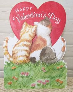 """Carol Wilson Valentines Day Card - Cats Kitty Couple by Carol Wilson Fine Arts, Inc.. $3.99. Beautifully embossed greeting card with 5"""" x 7"""" envelope."""
