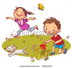 Children running and picking flowers. Summer activities. Children illustration for School books, magazines, advertising and more. Separate Objects. VECTOR.