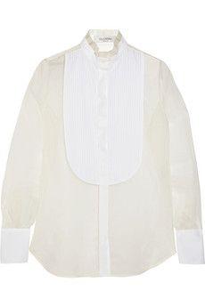 Valentino Cotton poplin-paneled silk-organza shirt   NET-A-PORTER