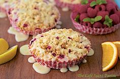Best Raspberry Crumble Muffins - bursting with fresh raspberry flavor - they're topped with buttery crumbles and laced with citrus drizzle. Awesome!
