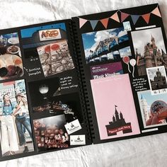Scrapbook Disney, Couple Scrapbook, Photo Album Scrapbooking, Scrapbook Pages, Scrapbooking Ideas, Scrapbook Photos, Travel Journal Scrapbook, Travel Journals, Anniversary Scrapbook