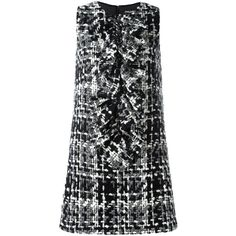 Dolce & Gabbana Tweed Sleeveless Dress ($1,780) ❤ liked on Polyvore featuring dresses, grey, flutter-sleeve dress, zipper back dress, short grey dress, tweed dress and round neck dress
