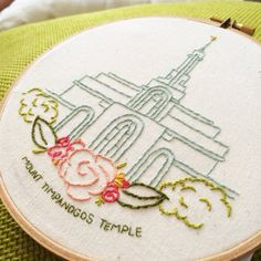 Mount Timpanogos LDS Temple Hand Embroidery Hoop by hellohannahlow