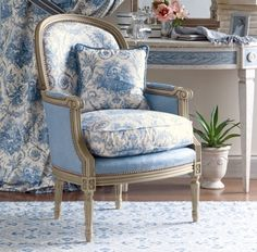 My Faux French Chateau: Antique French Century Red Toile de Jouy Fabric Love the chair! French Decor, Furniture, French Chairs, White Decor, French Furniture, Chair, Blue Toile, Blue White Decor, French Blue Chairs