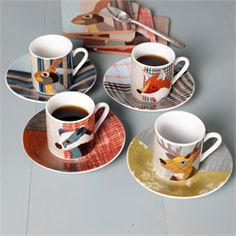 Carola Van Dyke Beasties Collection Espresso Cups and Saucers
