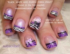 purple black and white zebra tip nail art ! http://www.youtube.com/watch?v=9FpgU0Fa2a8
