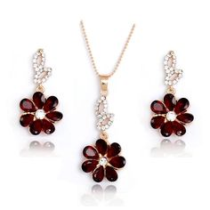 H:HYDE Hot Selling Gold Color Red Shining Flower Austria Crystal Necklace Earrings Set Wedding Bridal Jewelry Set For Women