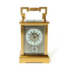Strike repeat Alarm Carriage Clock, Silvered Mask dial