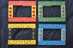 Harry Potter Picture Frames in House Colors by alienantidote Hogwarts House Colors, Hogwarts Houses, Harry Potter Accessories, Harry Potter Pictures, Using Acrylic Paint, Ravenclaw, Crafts To Do, Picture Frames, Crafty