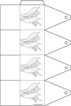 bricolage papier, une boite décorée de muguet pour le premier mai à colorier Coloring Pages, Images, Gifts, French, May 1, Lily Of The Valley, Paper Crafting, Color, Draw