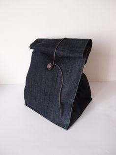 Lunch bag en jean - sac à repas : Autres sacs par les-envies-damelie