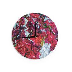 Kess InHouseMary Bateman 'Bougainvillea' Wall Clock