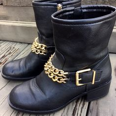✨JUST LISTED: Moto Boots In excellent condition, worn only once • black zip-up moto boots with gold tone chain & buckle • 2 inch heel • Considering reasonable offers! Shoes Combat & Moto Boots