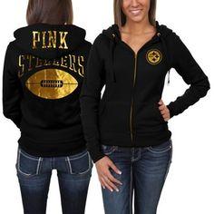 Victoria's Secret PINK Pittsburgh Steelers Ladies Bling Full Zip Hoodie - Black