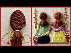 Unique And Outstanding Hand Embroidery Designs Ideas //Hair Style Hand Embroidery Patterns Embroidery Hoop Crafts, Hand Embroidery Projects, Hand Embroidery Videos, Modern Embroidery, Hand Embroidery Patterns, Embroidery Art, Embroidery Stitches, Christmas Crafts Sewing, Sewing Crafts