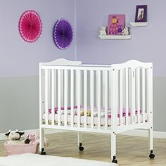 Dream On Me 2 In 1 Lightweight Folding Portable Stationary Side Crib,  White, Http