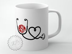 Monogrammed Nurse Coffee Mug - Personalized Stethoscope unique coffee cup, gift for a doctor + FREE COASTER on Etsy, $12.99