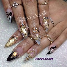 """She asked for """"Royalty"""" and that's what I gave her! 14kt gold encapsulated nails with @official_swarovski diamonds Had so much fun with my honey bun @Sagg_Royalty1215 she came prepared with these beautiful rings from @Hello Miss Apple - @Celeste Hampton- #webstagram"""