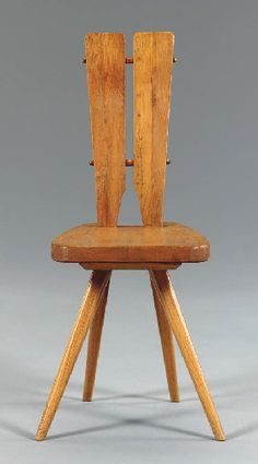 Carlo Mollino; Oak Side Chair for Casa del Sole, c1950.
