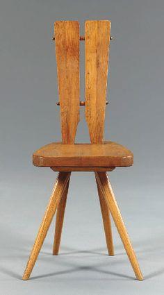///// Carlo Mollino; Oak Side Chair for Casa del Sole, c1950. #chair #furniture #industrial #design