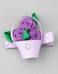 Take a look at this Bubbly Bows Purple Flower Basket Clip on zulily today! Ribbon Art, Diy Ribbon, Ribbon Crafts, Grosgrain Ribbon, Ribbon Hair Bows, Girl Hair Bows, Ribbon Projects, Baby Hair Clips, Ribbon Sculpture