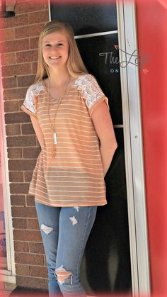 Beautiful tee in tangerine & lace...  Shop this look at The Loft in store or online...