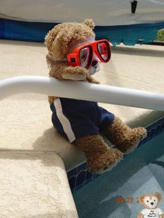 #Duffy the #Disney Bear at his first pool party.