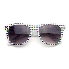 Retro Indie Fun Pattern Color Assorted Print Sunglasses (White Sunglasses). Only from Emblem Eyewear® will you receive a 100% Satisfaction Guarantee, authentic Emblem Eyewear® products and unrivaled Customer Care!. USA Shipper USA Company-Fast FREE Shipping!. Instagram Hashtag #EEFunWay. 100% UV Protection.