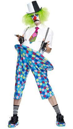 clown pants, suspenders, tie