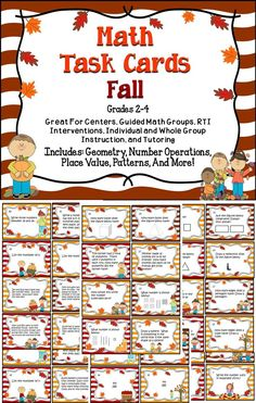 Math Task Cards - This adorable set of task cards includes 55 problems for your students to solve. These cards are great for math centers! #TpT #Math #Learn