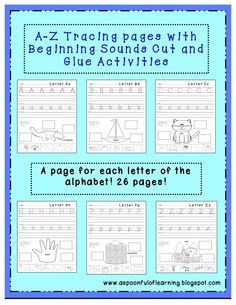 A-Z tracing, writing, and beginning sounds practice. Students practice all 3 skills on one page! A page for each letter of the alphabet!